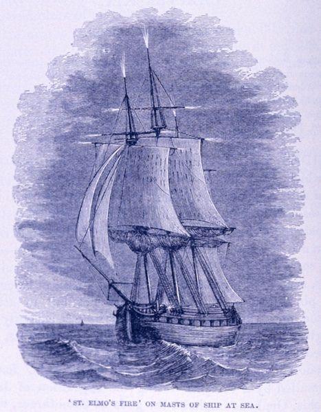 Fuego de San Telmo en los mástiles de un barco