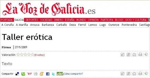 Taller erótica, en La Voz de Galicia