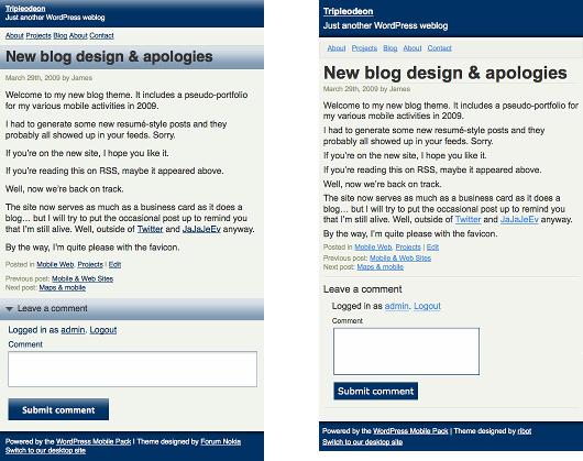 Aspecto de WordPress Mobile Pack